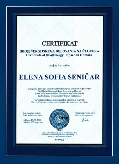 elena sofia seničar certifikat