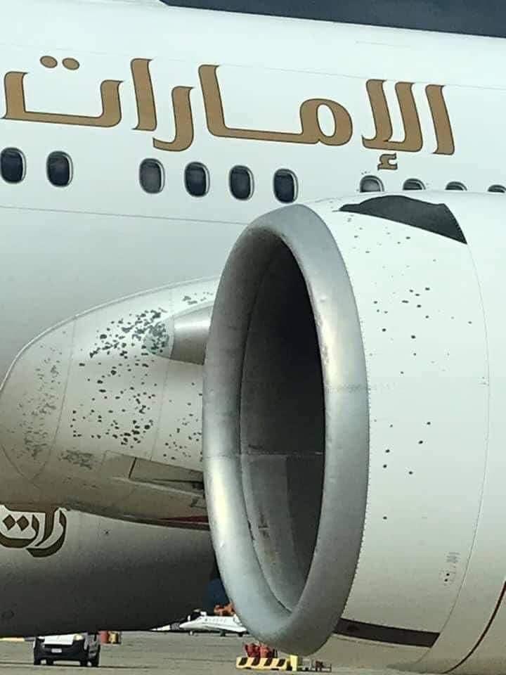 toča poškodovano letalo